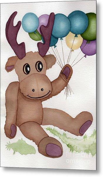 Mr Moose With Balloons Metal Print by Vikki Wicks