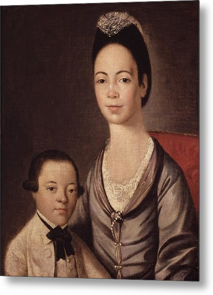 Mrs. Aaron Lopez And Her Son Joshua Metal Print