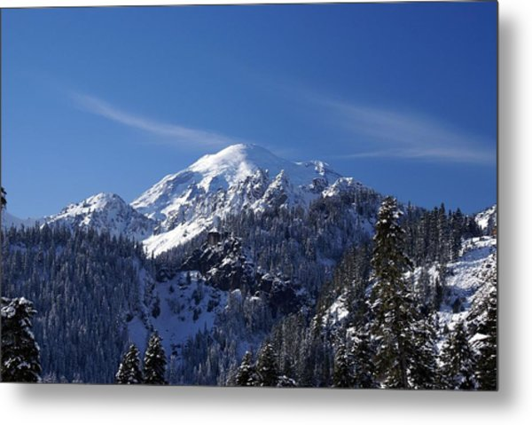 Mt. Rainier In Contrast Metal Print
