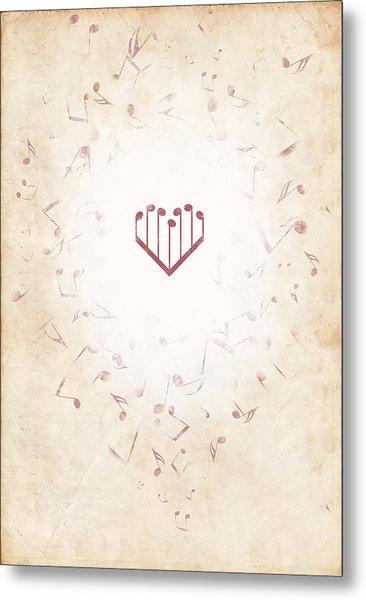 Music Heart Warm Metal Print by Luka Balic