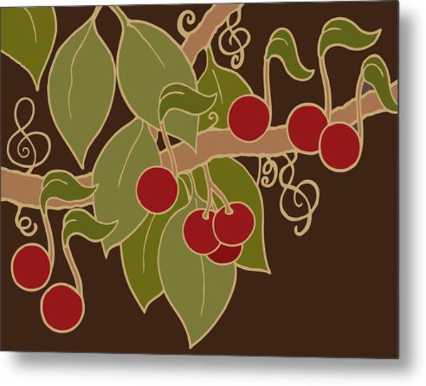 Musical Cherries Rectangle Metal Print