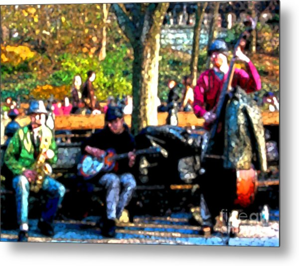 Musicians In Central Park Metal Print by Anne Ferguson