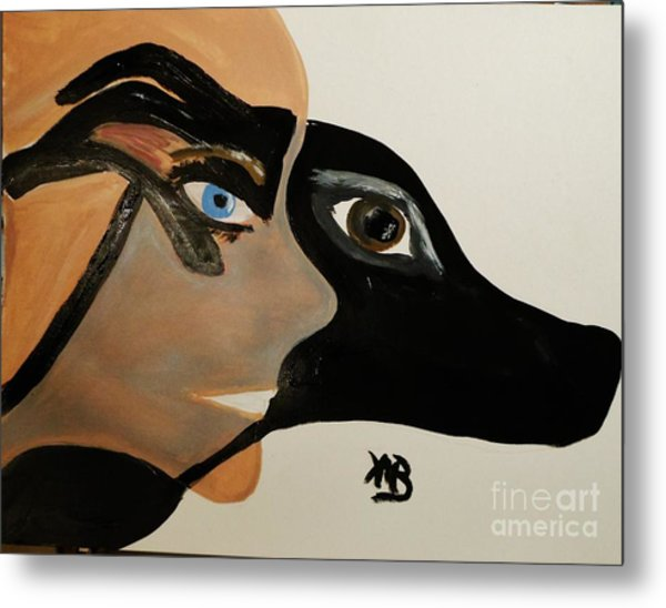 My Beloved Greyhound And Me Metal Print by Marie Bulger