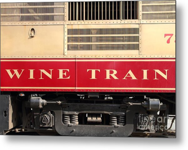 Napa Valley Railroad Wine Train In Napa California Wine Country . 7d8988 Metal Print by Wingsdomain Art and Photography