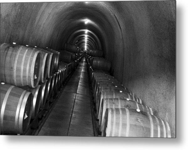 Napa Wine Barrels In Cellar Metal Print
