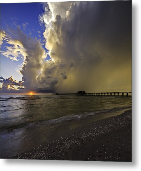 Naples Pier Storm Sunset Metal Print