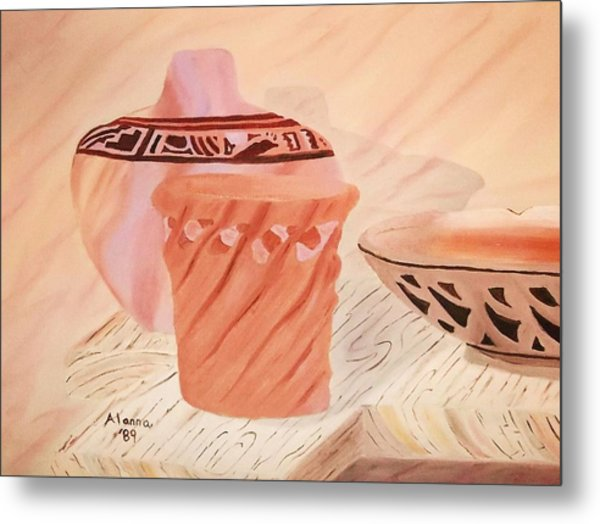 Native American Pottery Metal Print by Alanna Hug-McAnnally