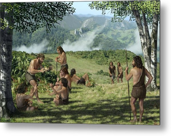 Neanderthals In Summer, Artwork Metal Print by Mauricio Anton