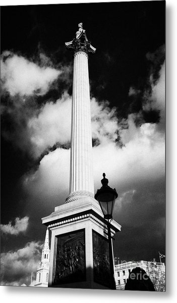 nelsons column in Trafalgar Square London England UK United kingdom Metal Print by Joe Fox