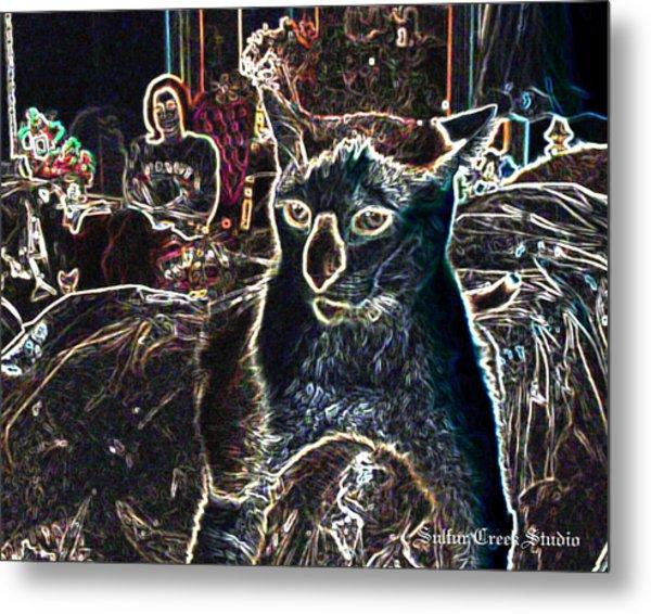 Neon Cat Metal Print by Sulfur Creek Studio