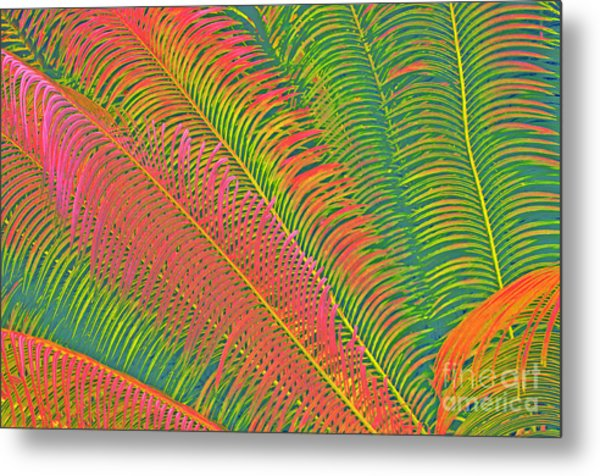 Neon Palm Abstract Metal Print