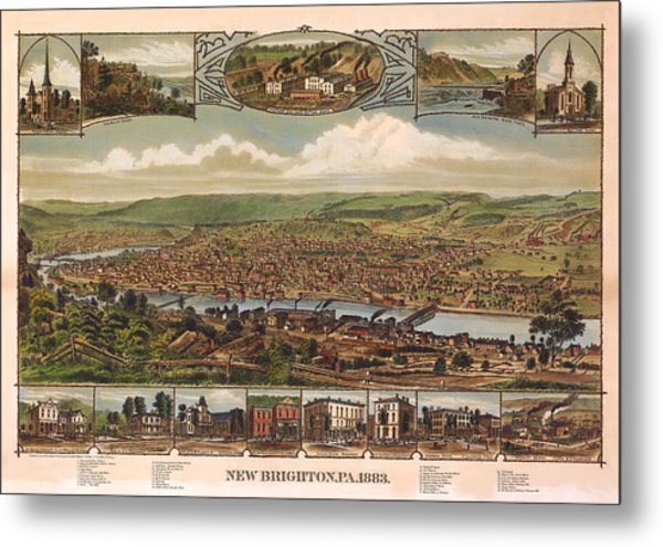 New Brighton Pennsylvania 1883 Metal Print by Donna Leach