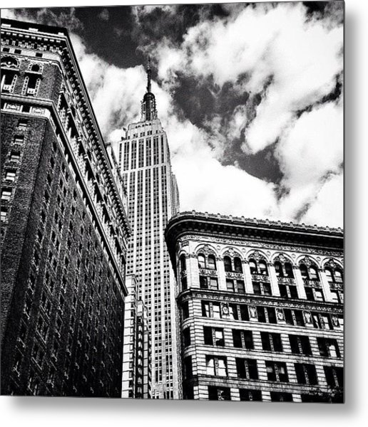 New York City - Empire State Building And Clouds Metal Print