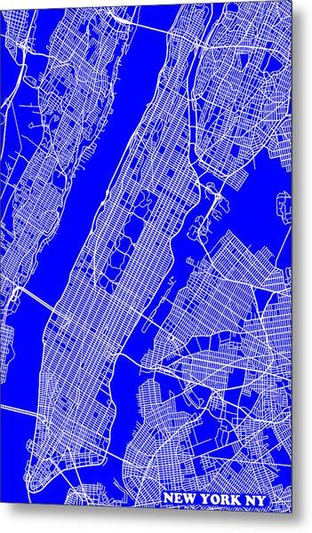 New York City Map Streets Art Print   Metal Print