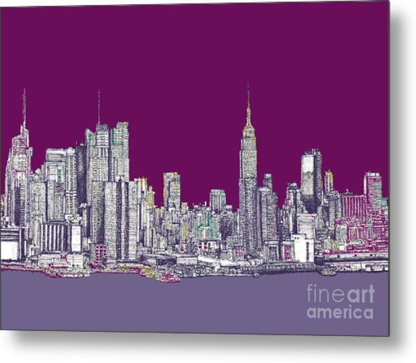 New York Nyc In Purple Metal Print