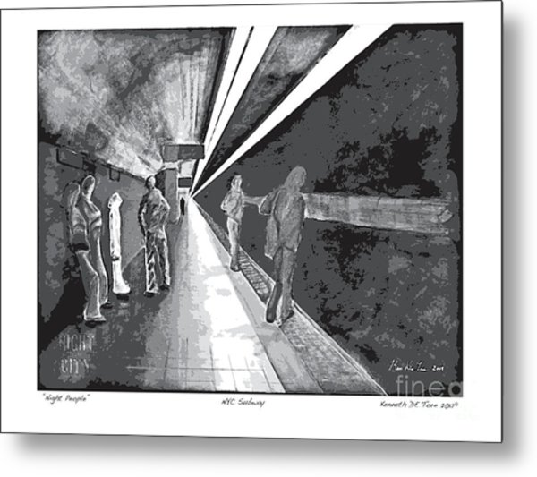 Night People In Black And White Metal Print