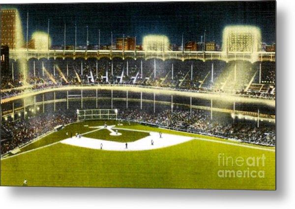 Night View Of Yankee Stadium In The 1950's Metal Print
