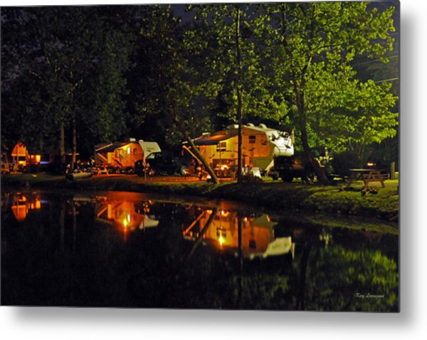 Nighttime In The Campground Metal Print