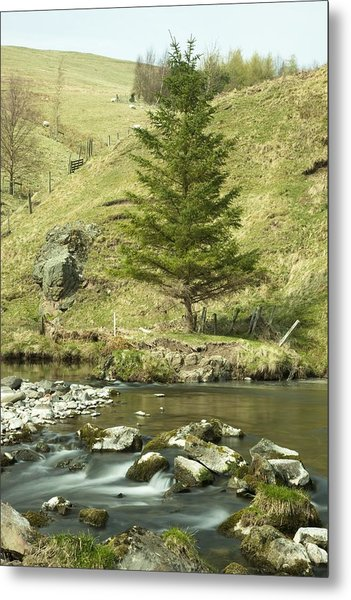 Northumberland, England A River Flowing Metal Print