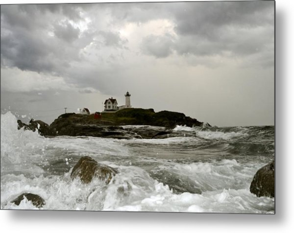 Nubble Lighthouse In The Thick Metal Print