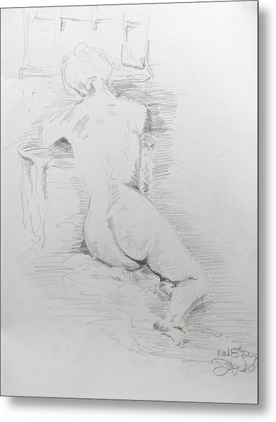 Nude In Front Of Table And Window Metal Print