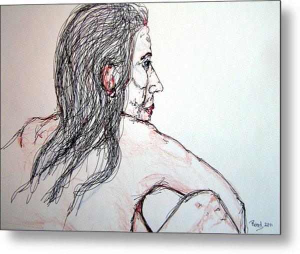 Nude Sitting Metal Print