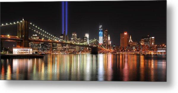 Nyc - Manhattan Skyline 9-11 Tribute Metal Print by Shane Psaltis
