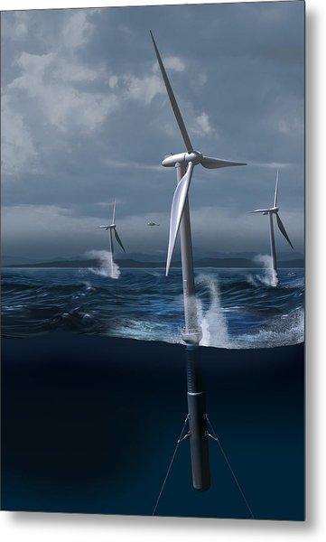 Offshore Wind Farm In A Storm, Artwork Metal Print by Claus Lunau