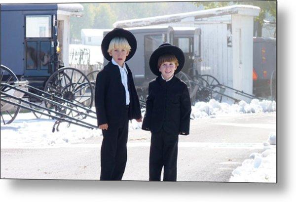 Oh So Cute Amish Boys Metal Print