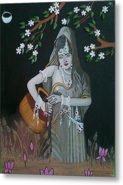 Oil Painting...a Lady With Pitcher Metal Print by Priyanka Rastogi