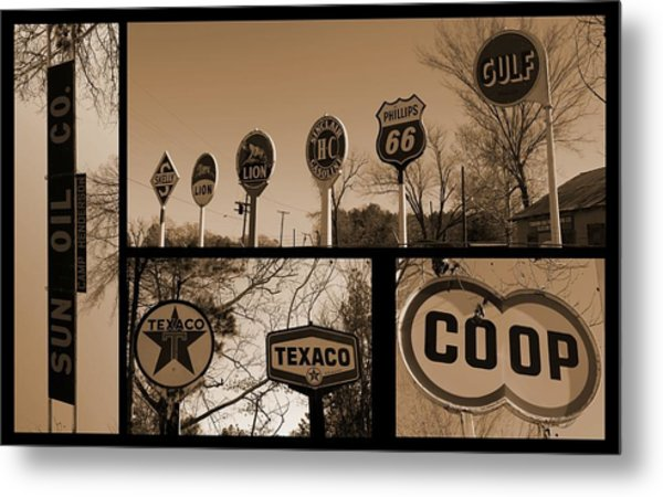 Oil Sign Retirement Metal Print