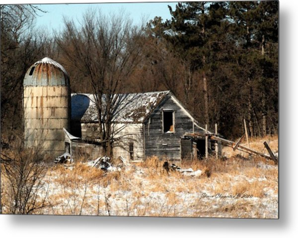 Old Barn And Silo Metal Print