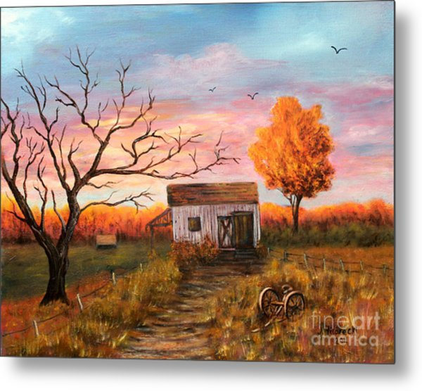 Old Barn Painting At Sunset Metal Print