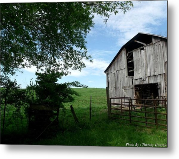 Old Barn With Beautiful Sky Metal Print by Timothy Hudson