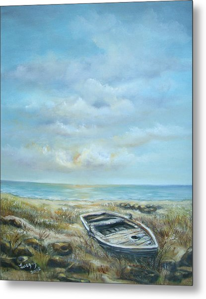 Old Boat Beached Metal Print