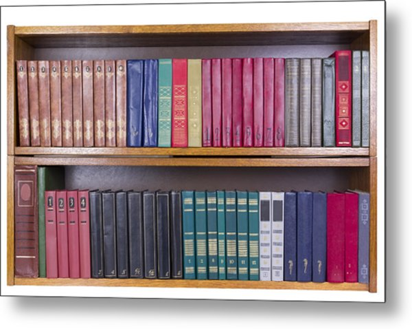 Old Books With Color Covers  On A Shelf  Metal Print by Aleksandr Volkov