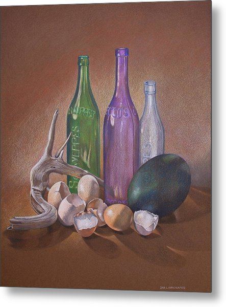 Old Bottles Egg Shells And Driftwood  Metal Print by Jan Lawnikanis