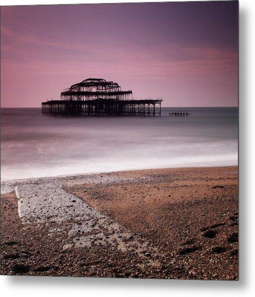 Old Brighton Pier Metal Print by Nina Papiorek