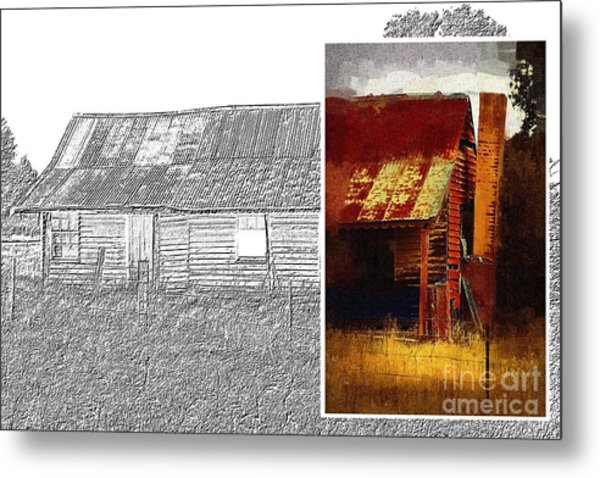 Old Cottage Diptych 1 Metal Print