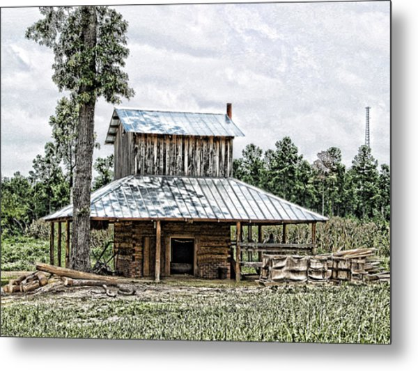 Old Fashioned Tobacco Barn Metal Print by Dwayne  Graham