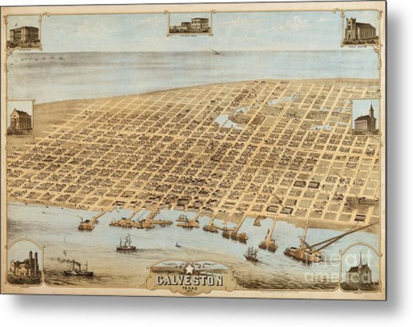 Old Galveston Map Metal Print by Pg Reproductions
