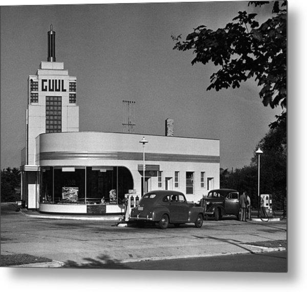 Old Gasoline Station Metal Print by George Marks