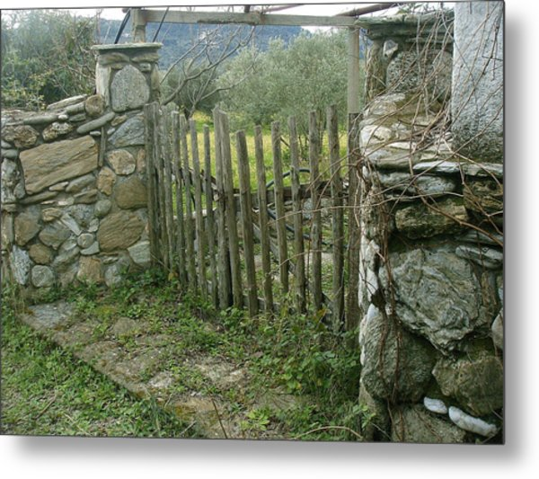 Old Gate On A Greek Island Metal Print by Vasilis-Alekos Korallis