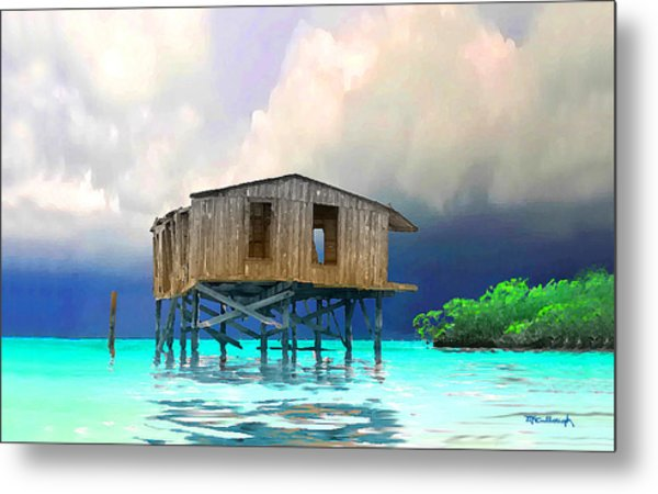 Old House Near The Storm Filtered Metal Print