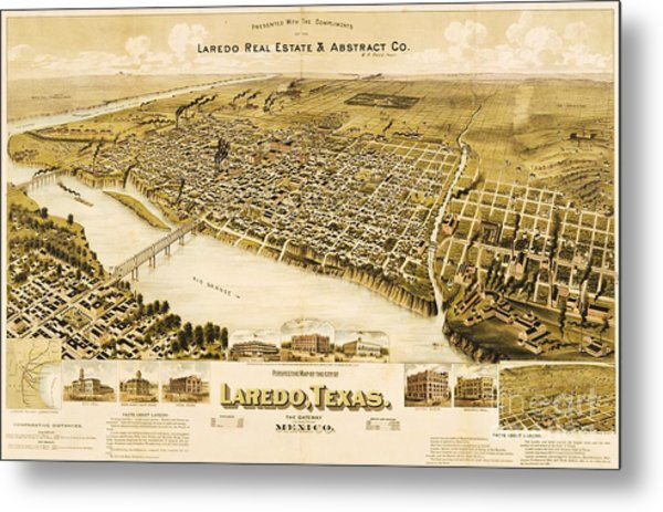 Old Map Laredo Texas Metal Print by Pg Reproductions