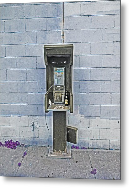 Old Pay Phone In New Orleans Metal Print