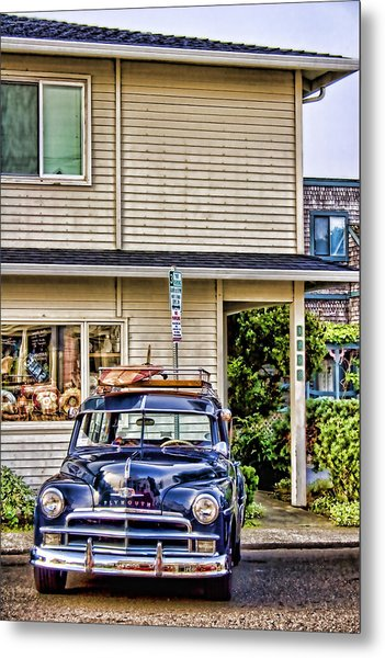 Old Plymouth And Surfboard Metal Print