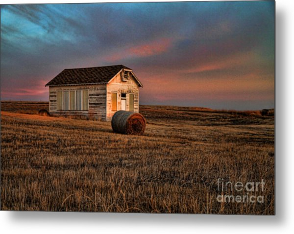 Old Prairie School At Sunrise Metal Print