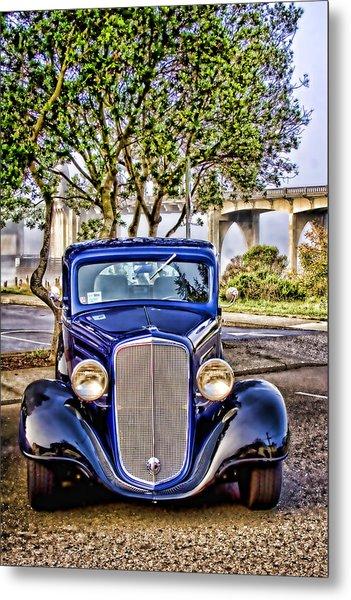 Old Roadster - Blue Metal Print