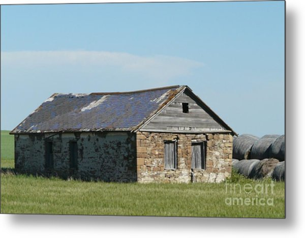 old rock house in ND. Metal Print by Bobbylee Farrier